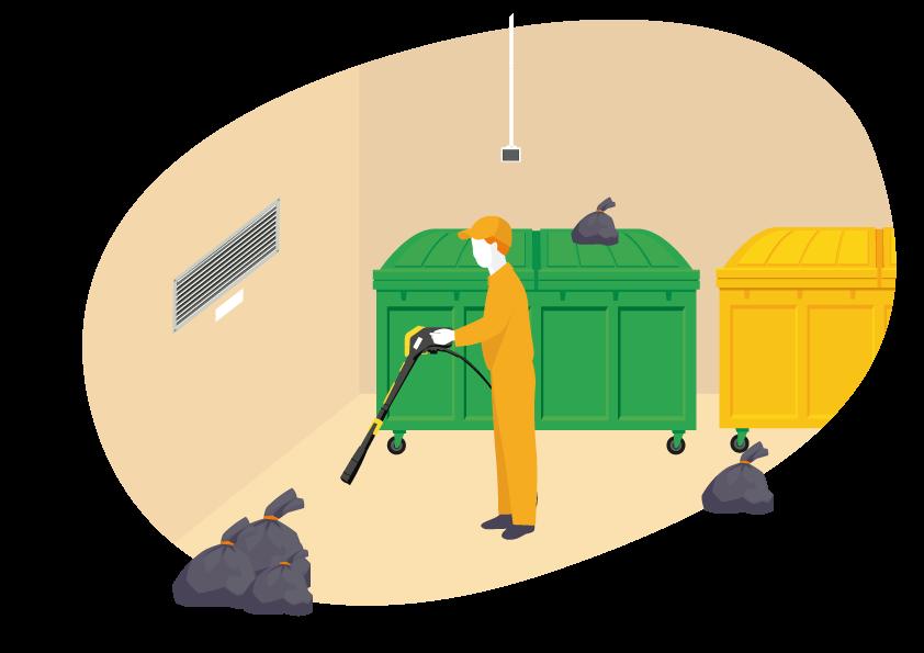 Entretien locaux et colonnes de vide-ordures